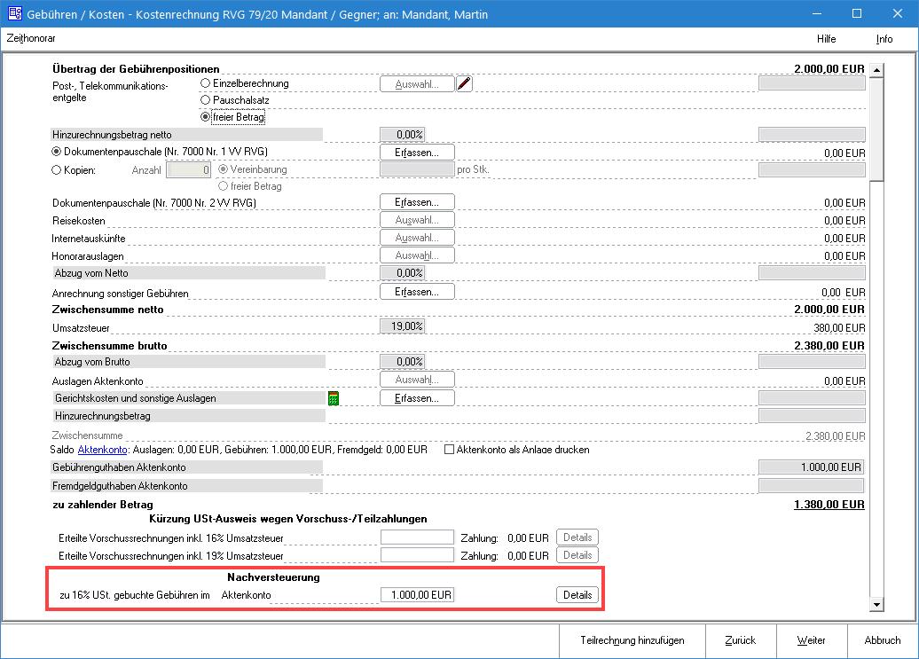 Screenshot Gebührenprogramm Nachversteuerung