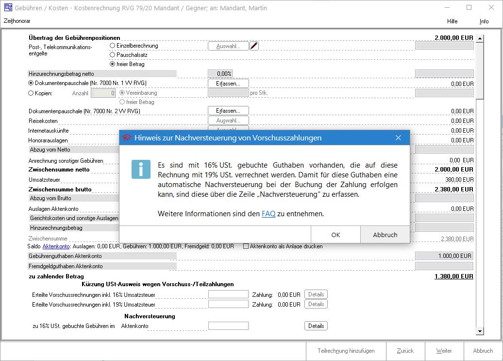 Screenshot Gebührenprogramm Hinweis Nachversteuerung