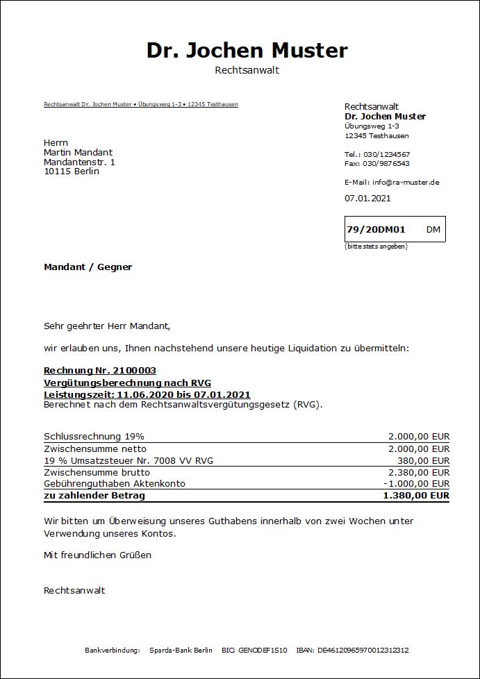 Screenshot Gebührenrechnung